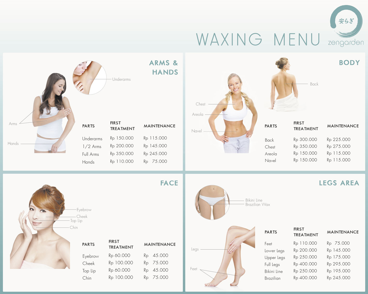 Zengarden Waxing Menu